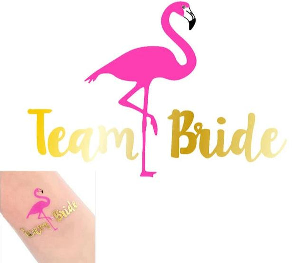 silver metallic tattoo bride tribe team bride flamingo