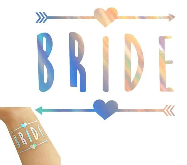 rainbow metallic tattoo bride tribe team bride