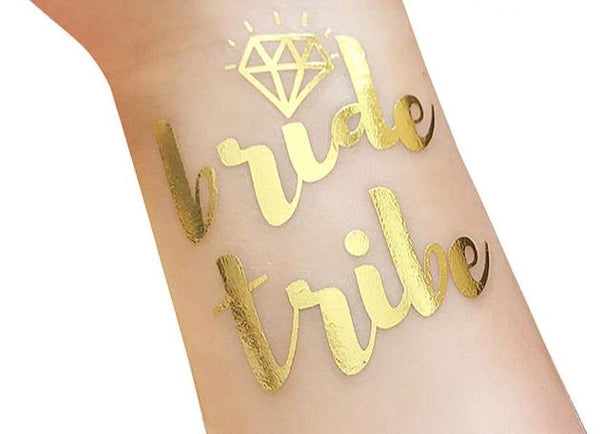 gold metallic tattoo bride tribe team bride
