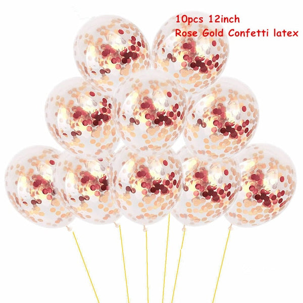 rose gold confetti wedding party balloons