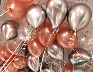 metallic, chrome, rose gold, confetti balloons and ribbon
