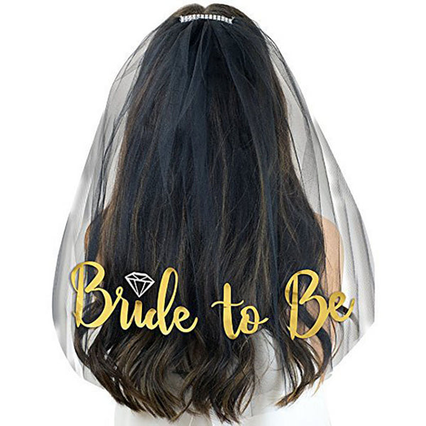 bride to be black wedding veil gold glitter lettering