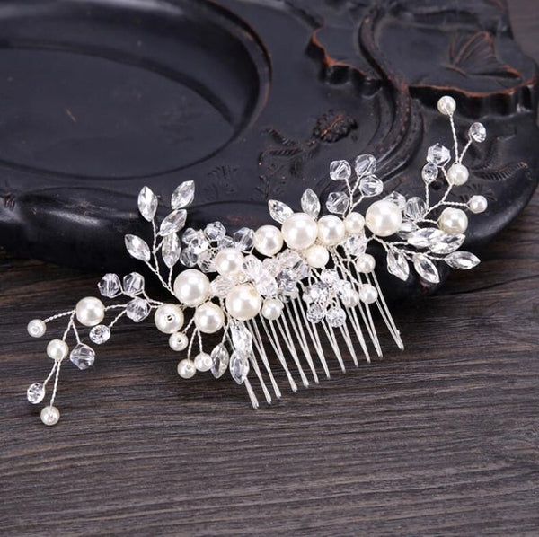rhinestone and pearl wedding hair comb bridal and bridesmaid accessory