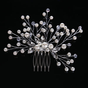 rhinestone hair comb bridal accessory silver bride and bridesmaid