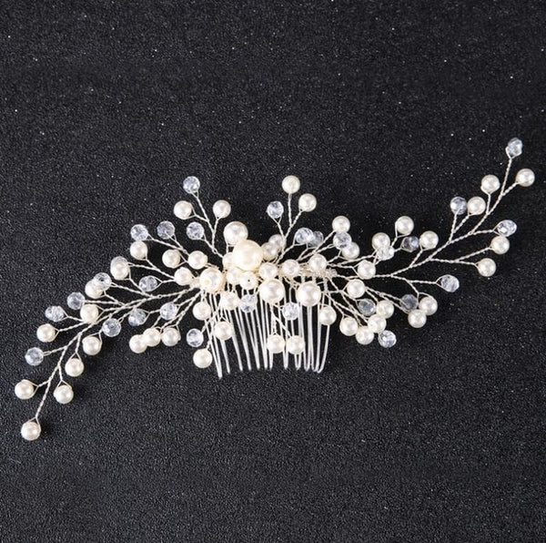 rhinestone hair comb bridal accessory bride and bridesmaid silver