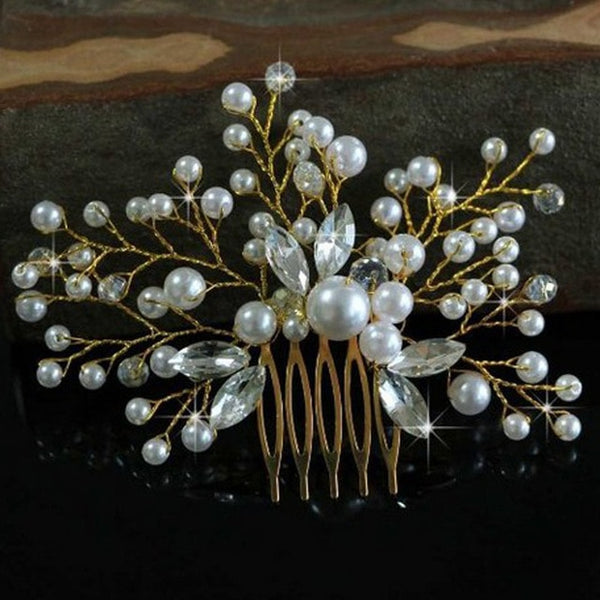 rhinestone hair comb bridal accessory gold bridal bridesmaid