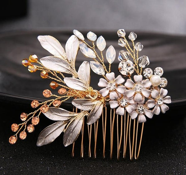 rhinestone hair comb bridal accessory gold bridesmaid