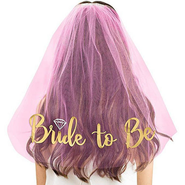 bride to be wedding pink veil gold glitter lettering