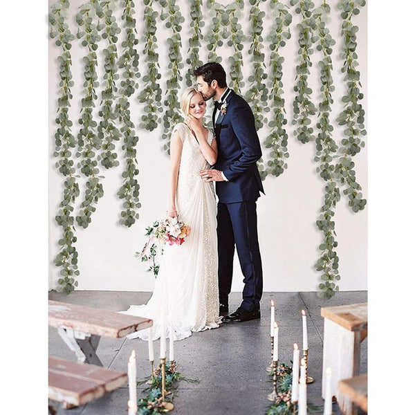 eucalyptus chain wedding decoration artificial greenery bride and groom wedding venue