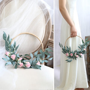 hoop bridal bouquet and wedding venue decoration