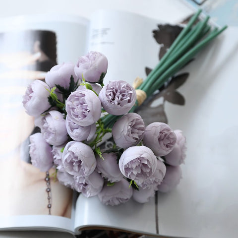 silk peonies lavender wedding flowers