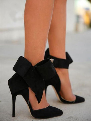 bow high heel shoes bridesmaids black