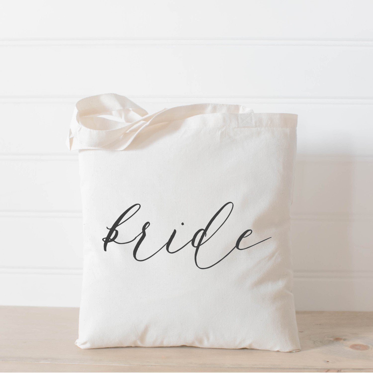 personalized wedding tote bag calligraphy bride