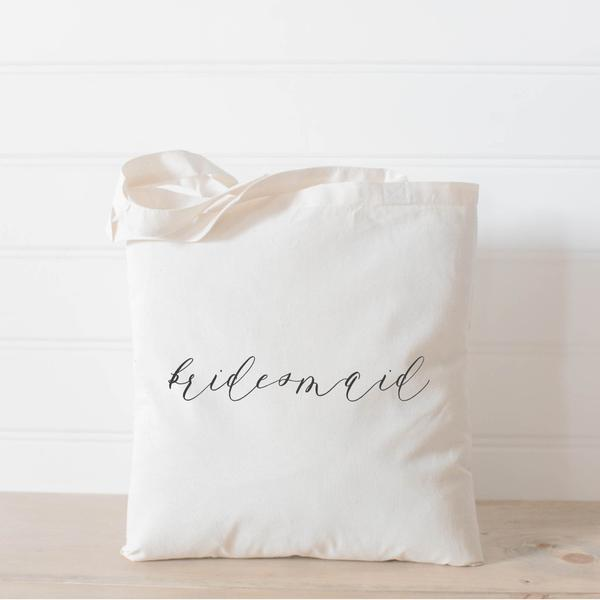 personalized wedding tote bag calligraphy bridesmaid