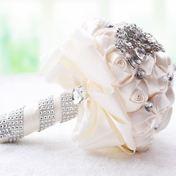everlasting brooch bouquet ivory and crystal