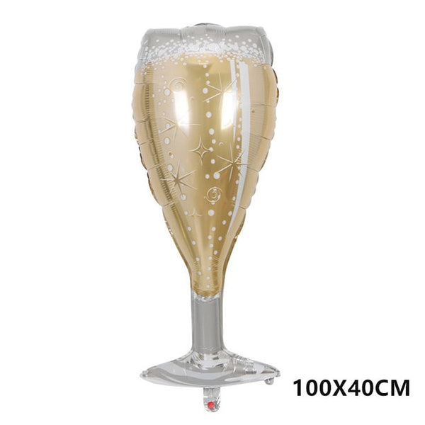 foil balloon champagne glass engagement bachelorette hen party bride and car