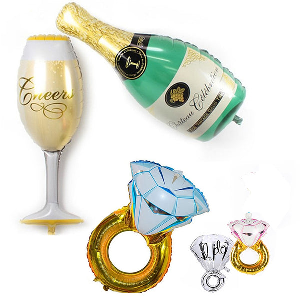 foil balloon engagement package rings champagne and champagne glasses engagement bachelorette hen party