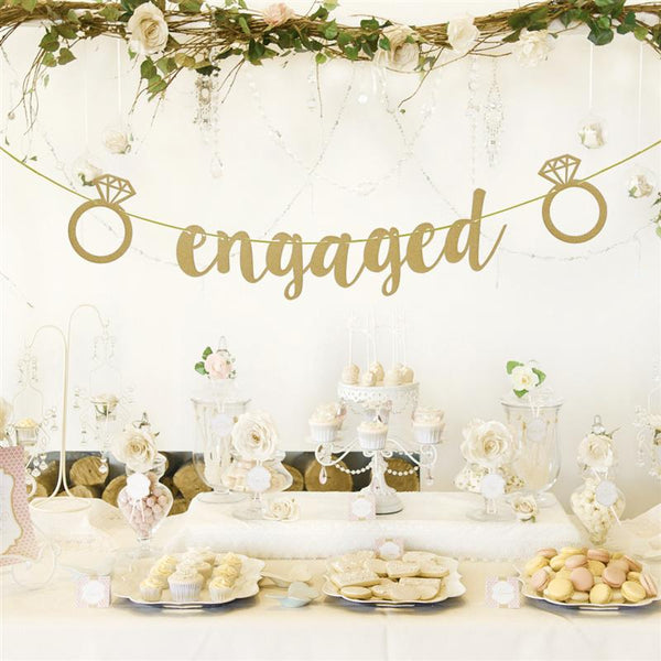 engaged gold glitter banner