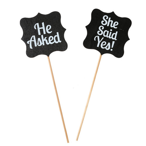 he asked, she said yes photo booth sign chalk board vintage effect