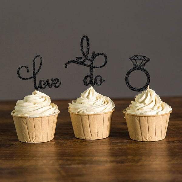 sparkle engagement cupcake topper and engagement ring black