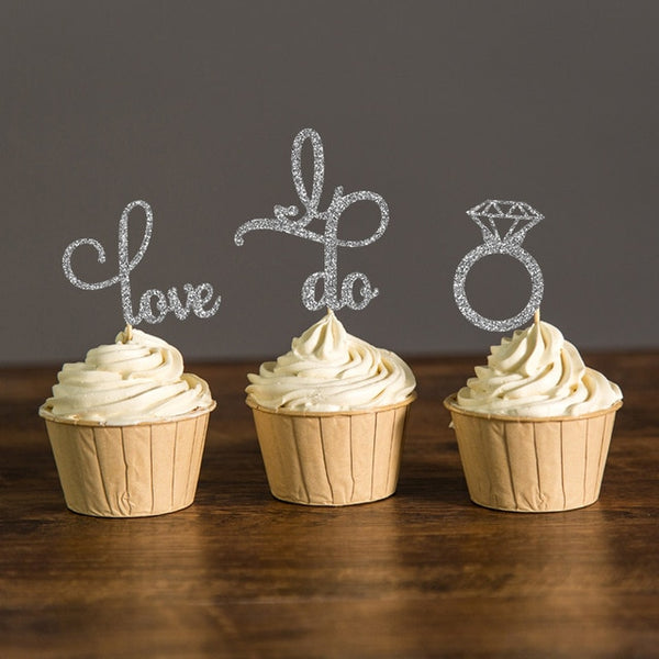 sparkle engagement cupcake topper and engagement ring silver