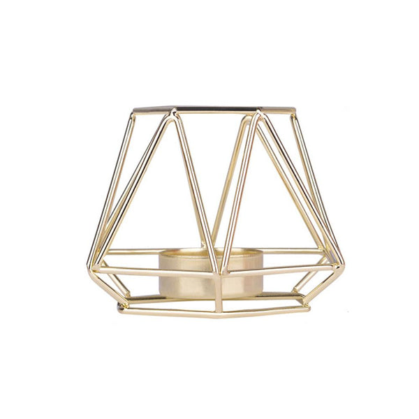 gold wedding centre piece geometric candle holder