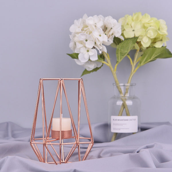 rose gold tea lights candle holder geometric style