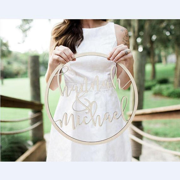 personalized bride & groom wooden wedding hoop