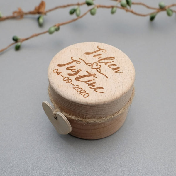 wooden ring bearer box personalized with bride groom and wedding date