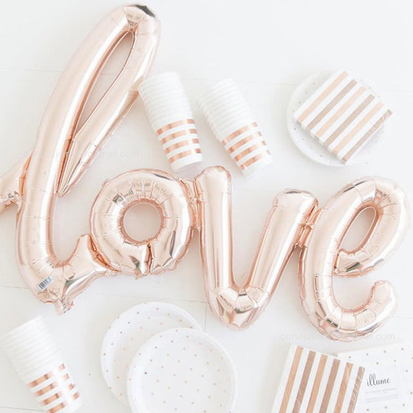 love foil ballon rose gold