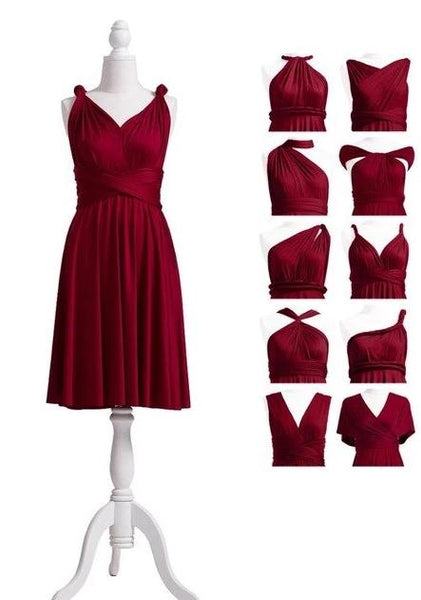 Red Bridesmaid Dress Infinity Dress Ruby Short Convertible Dress Plus MultiWay Wrap Dress With Halter Straps Styles