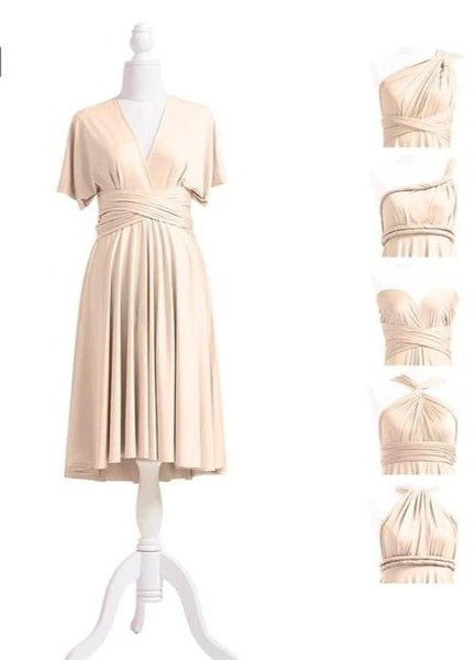 multiway affordable wedding bridesmaid dress champagne