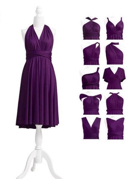 multiway affordable wedding bridesmaid dress plum purple