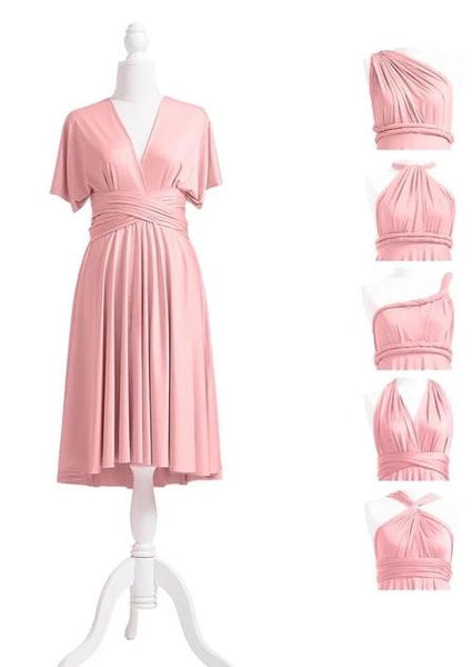 multiway affordable wedding bridesmaid dress dusty rose pink