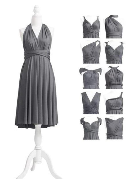 multiway affordable wedding bridesmaid dress charcoal grey