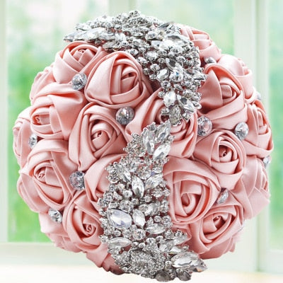 everlasting brooch bouquet blush pink and crystal