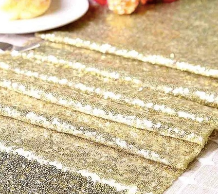 gold sequin table runner wedding decoration