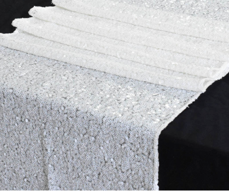 white sequin table runner wedding party decoration