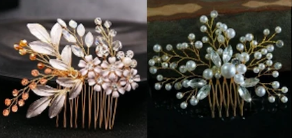 bridal and bridesmaid pearl hair comb