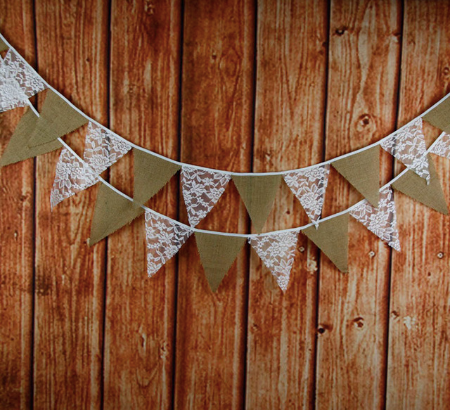lace and burlap bunting rustic and boho wedding decoration