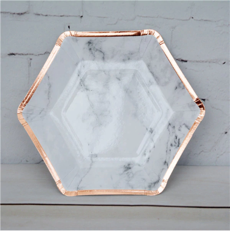 rose gold and marble paper plates disposable plates bachelorette