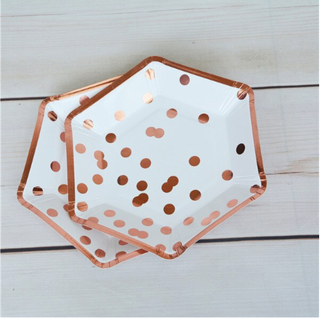rose gold polka dot paper plates disposable plates