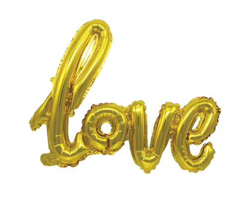 love foil helium ballon gold