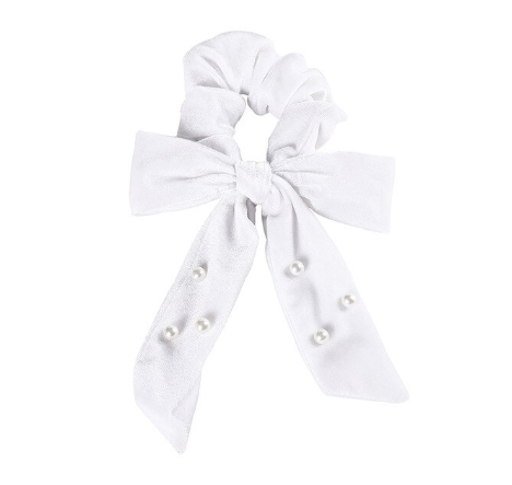 velvet scrunchie bridesmaids white and pearl