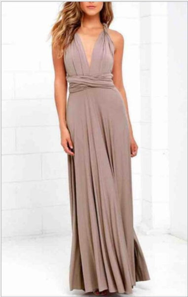 bridesmaid infinity dress multiway warm taupe