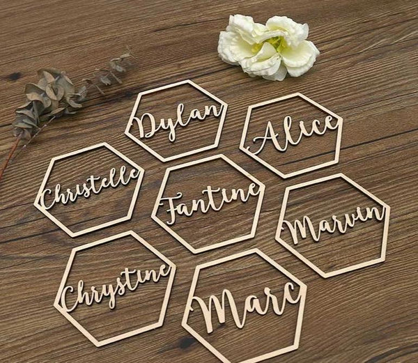 Wooden name Wedding place cards Personalized Geometric Wedding Sign Laser cut names Hexagon Shape Wedding gifts for guests