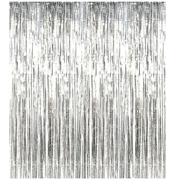 foil tinsel silver curtain backdrop bridal shower and hen and bachelorette parties