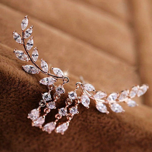 rhinestone statement crawler earrings bride or bridesmaid gold