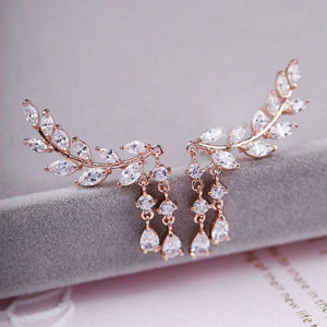 feather diamanté earrings