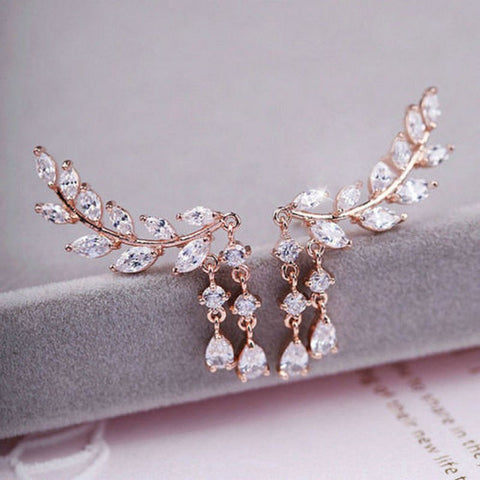 rhinestone statement crawler earrings bride or bridesmaid